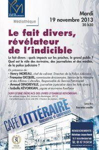 """Conférence : « Le fait divers, révélateur de l'indicible ? » à Rueil-Malmaison, suite à la publication du roman """"Les Enfants Rouges"""", qui prend appui sur un fait divers"""