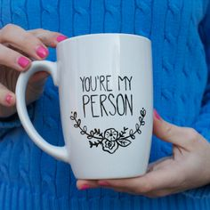 You're My Person Mug // Hand Painted Coffee Mug // Grey's Anatomy Quote Mug // Flower Wreath Mug