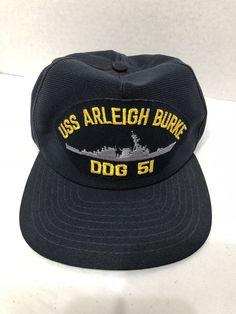 b257f3babbd54 Vintage Navy USS Arleigh Burke DDG 51 Cap Hat Navy Blue USA  fashion   clothing