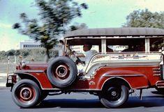 1959 jeepney in Manila (ctto) Philippines Culture, Manila Philippines, Vintage Cars, Antique Cars, Kitsch Decor, Jeepney, Filipiniana, Mindanao, Custom Jeep