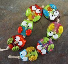 Owl lampwork beads