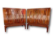 Pair Mid Century Modern Nightstands End Tables Cabinet Burl Wood...