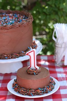Vanilla Layer Cake with Easy Fudge Frosting (+ a First Birthday Party!)