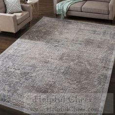 Nourison Graphic Illusions Grey Antique Damask Pattern Rug 5 x27 3 x 7 x27 5 - at O
