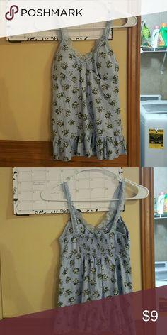 Blue flower strap top Worn lightly lei Tops Tank Tops