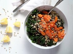 Black lentils, quinoa, carrots, sunflower seeds, kale, lemon juice, a little bit of olive oil and of maple syrup, I challenge you to find a healthier salad! :)    I made this a couple of months ago, sometimes in November, and I wanted to post it immed
