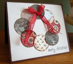 Christmas wreath card, could emboss some of the dots! Diy Christmas Cards, Xmas Cards, Handmade Christmas, Holiday Cards, Christmas Crafts, Greeting Cards, Merry Christmas, Christmas Scrapbook, Christmas Paper