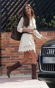 Bohemian white lace + boots
