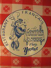 Orig. Vintage Ephemera Advertising Chez Yvonne Mountain View Restaurant Menu