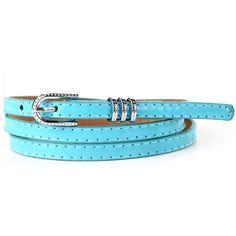 Light Blue Faux Leather Loop Rhinestone Decor Skinny Belt (375 RUB) ❤ liked on Polyvore featuring accessories, belts, loop belt, skinny belt, thin belt, vegan belt and light blue belt