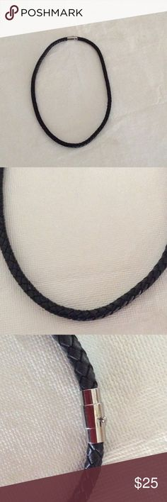 """NWOT Genuine Leather Black Braided Necklace 20"""" Long Genuine Leather Braided Black Necklace with Magnetic Clasp, with Safety feature.   See Matching Black Leather Bracelet posted separately. Accessories Jewelry"""