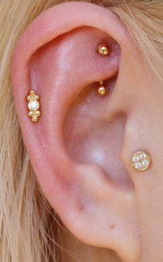 Delicate Ear Piercing Ideas at MyBodiArt.com - Gold Rook Barbell - Crystal Pinna Cartilage Helix Earring - Tribal Tragus Stud #diystudearringsears