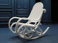 1:24 Bentwood Rocking Chair - White Strong & Flexible