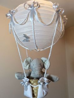 Hot air balloon nursery light shade with tatty teddy made to order hot air balloon lamp light shade silver grey elephant baby nursery decoration aloadofball Images