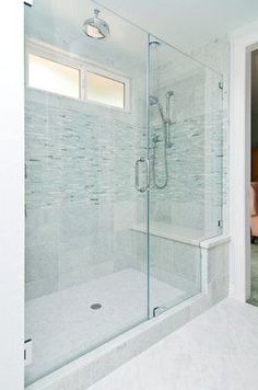 Large walk-in shower big enough for two, with a full bench seat and two shower heads. window in shower Big Shower, Master Bathroom Shower, Small Bathroom With Shower, Window In Shower, Shower Seat, Shower With Bench, Bathroom Showers, Walk In Shower, Large Shower