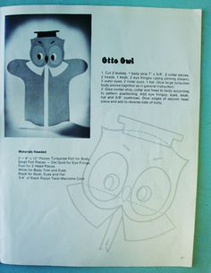 vintage felt owl puppet instructions