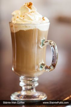 Irish Coffee - Our fresh roasted coffee with Irish whiskey topped with whipped creme.