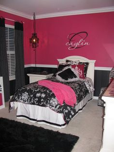 Giovanna 39 s room ideas on pinterest teen bedroom girl for Black and pink teenage bedroom ideas