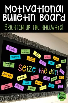Seize the Day! Motivational Bulletin Board Kit This motivational bulletin board looks awesome in the hallway! It says Seize the Day and has lots of inspirational phrases. Easy to print and create classroom decoration and great for back to school! Counselor Bulletin Boards, Hallway Bulletin Boards, Elementary Bulletin Boards, Interactive Bulletin Boards, Back To School Bulletin Boards, Bulletin Board Display, Behavior Bulletin Boards, Preschool Bulletin, Elementary Library