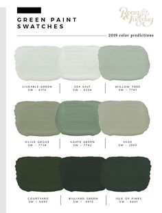 Predicted Paint Colors for 2019 I&;ve looked through the swatch books and have compiled the 2019 pred&; Predicted Paint Colors for 2019 I&;ve looked through the swatch books and have compiled the 2019 pred&; art […] for home living room color trends Green Paint Colors, Exterior Paint Colors, Exterior House Colors, Wall Colors, Sage Green Paint, Sage Green Walls, Light Green Walls, Sage Color, Color Palette Green
