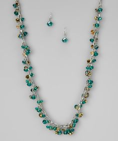 Take a look at this Green Crystal Cascading Candy Necklace & Earrings by Felicia LTD on #zulily today!