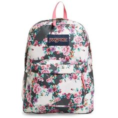 Jansport 'Superbreak' Backpack (130 BRL) ❤ liked on Polyvore featuring bags, backpacks, accessories, multi grey floral flourish, laptop bag, flower print backpack, padded backpack, padded laptop bag and backpacks bags
