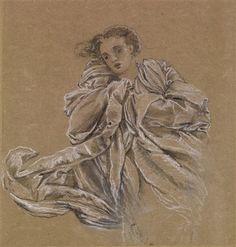 Winter - Study of Flying Drapery. Sketch by Sir Edward Burne-Jones.