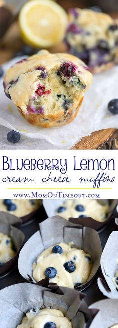 Blueberry Lemon Cream Cheese Muffins are the perfect way to start (or end) your day! An easy breakfast recipe that's sure to become a new favorite. Delicately moist and bursting with flavor, these muffins are topped with a refreshingly tart lemon glaze that's bound to make your mouth water. // Mom On Timeout #breakfast #brunch #Muffins #blueberry #lemon #baking #creamcheese #recipe #recipes #delish