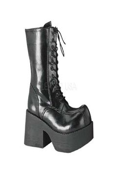 #FashionVault #pleaser shoes #Women #Footwear - Check this : Black Faux Leather Lace Up Platform Boots for $83.99 USD