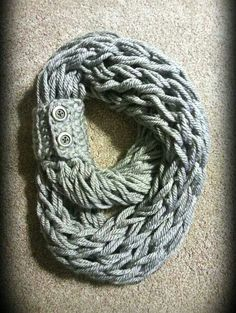 Grey arm knit scarf from Heartland Scarves.