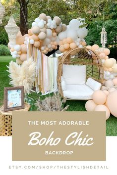 The perfect neutral backdrop for your boho themed party. A fun bohemian vibe is immediately created when you hang this fringe. #bohotheme #Bohemian #neutraltheme #bohemiantheme #bohochic #BohoChictheme #bohochicdecor Peach Baby Shower, Baby Shower Deco, Baby Girl Shower Themes, Boho Baby Shower, Baby Shower Backdrop, Boy Shower, Boho Themed Party, Rustic Theme Party, Bohemian Birthday Party