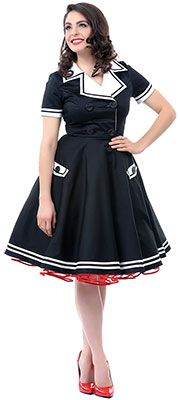 Black & White Short Sleeve Seafarer Dress