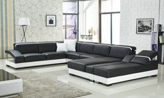 Big size leather sofa with a comfortable chaise Genuine Leather Sofa, Modern Leather Sofa, Home Decor Furniture, Sofa Design, Sofas, Living Room Decor, Couch, Black Series, Pink