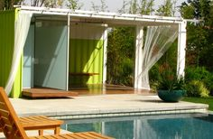 Shipping container converted to a pool house or gazebo.  And at just $1,000 for a container, way cheaper than anything else out there.