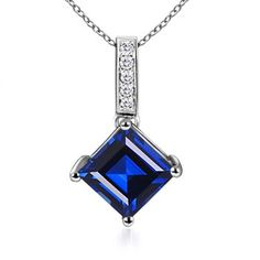 Angara 6mm Sapphire Necklace in 14k White Gold Gdyod
