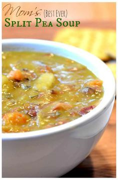 Split Pea & Ham Soup— Carrots, onions, potatoes, split peas and ham blend perfectly together in this rich and flavorful soup.the best recipe you'll find and so easy to make! The Best Split Pea Soup Recipe, Pea And Ham Soup, Pea Soup Recipe With Ham Bone, Ham Bone Soup, Comfort Food, Soup And Sandwich, Chili Recipes, Dining, Recipes