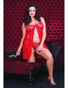 Fashion Bug Babydoll Open Front Red Queen ~ sexy negligee www.fashionbug.us #Curvy