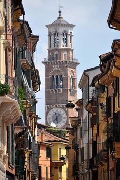 Borgo Trento, Verona Via Mazzini towards the Torre dei Lamberti.