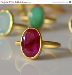 ON SALE  Ring Ruby Gemstone Ring  Brushed Gold Ring  by phoebemax, $39.06