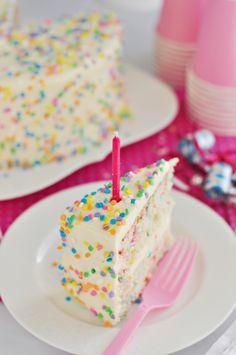 sweetapolita - kids' birthday - funfetti layer cake with whipped vanilla frosting Yummy Treats, Sweet Treats, Cake Recipes, Dessert Recipes, Fun Fetti Cake Recipe, Frosting Recipes, Bolo Cake, Confetti Cake, Vanilla Frosting