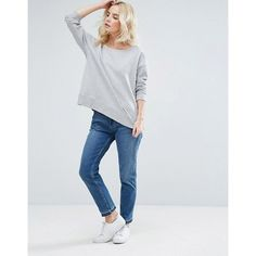 ASOS PETITE Sweatshirt In Off Shoulder Boxy Fit (£22) ❤ liked on Polyvore featuring tops, hoodies, sweatshirts, off shoulder tops, cotton sweatshirts, crewneck sweatshirt, off-the-shoulder sweatshirt and asos sweatshirt