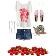 #36 Spring Strawberry Picking by ultimateprep on Polyvore featuring polyvore, fashion, style, J.Crew, TOMS, Kate Spade and Alex and Ani