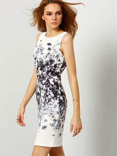 Online shopping for White Sleeveless Vintage Print Dress from a great selection of women's fashion clothing & more at MakeMeChic.COM.