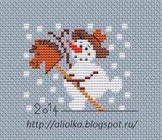 Snowman on hobby-horse mini X-stitch Cross Stitch Christmas Ornaments, Xmas Cross Stitch, Cross Stitch Cards, Christmas Embroidery, Christmas Cross, Cross Stitch Cow, Cat Cross Stitches, Cross Stitching, Cross Stitch Embroidery