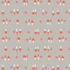 7a9ddd1eff Monaluna Bio-Baumwollstoff Cottage Garden poplin Pilze grau rot weiß  blau1,1m Breite Alle