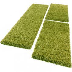 Bettumrandung Läufer Shaggy Hochflor Langflor Teppich in Grün Läuferset 3 Tlg. Wohn und Schlafbereich Bettumrandungen
