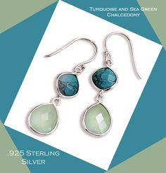 Sterling Silver Turquoise and Sea Green Chalcedony Drop Earrings, Gift Boxed