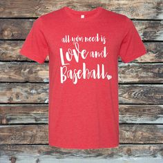All You Need Is Love and Baseball Shirt, Love Baseball Shirt, Womens Shirt, Baseball T-Shirt, Baseball Tank, Baseball Mom Shirt, by SpunkySparkles on Etsy