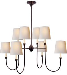 Visual Comfort Thomas OBrien Vendome Large Chandelier in Bronze with Natural Paper Shades TOB5008BZ-NP