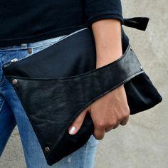Leather Detail -laukku, musta